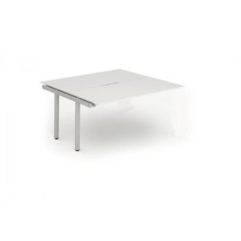 B2b Ext Kit Silver Frame Bench Desk 1600 White