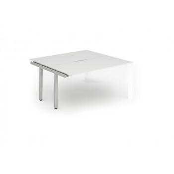 B2b Ext Kit Silver Frame Bench Desk 1200 White
