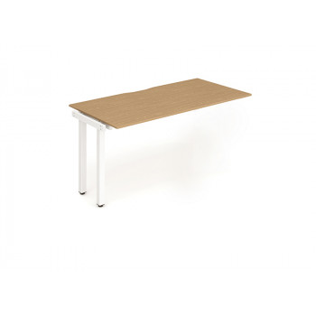 Single Ext Kit White Frame Bench Desk 1600 Oak