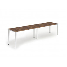 Single White Frame Bench Desk 1400 Walnut (2 Pod)