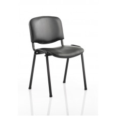 Iso Stacking Chair Black Vinyl Black Frame Without Arms