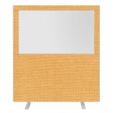 Impulse Plus Clear Half Vision 1800/1600 Floor Free Standing Screen Beige Fabric Light Grey Edges