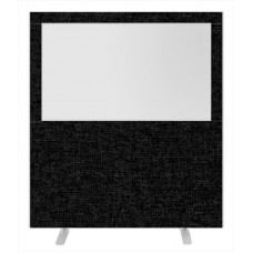 Impulse Plus Clear Half Vision 1800/1600 Floor Free Standing Screen Black Fabric Light Grey Edges