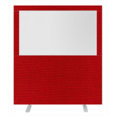Impulse Plus Clear Half Vision 1800/1600 Floor Free Standing Screen Burgundy Fabric Light Grey Edges