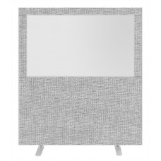 Impulse Plus Clear Half Vision 1800/1600 Floor Free Standing Screen Light Grey Fabric Light Grey Edges