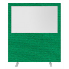 Impulse Plus Clear Half Vision 1800/1600 Floor Free Standing Screen Palm Green Fabric Light Grey Edges