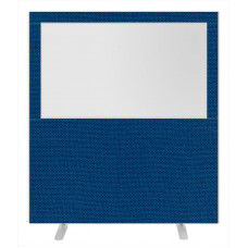 Impulse Plus Clear Half Vision 1800/1600 Floor Free Standing Screen Powder Blue Fabric Light Grey Edges