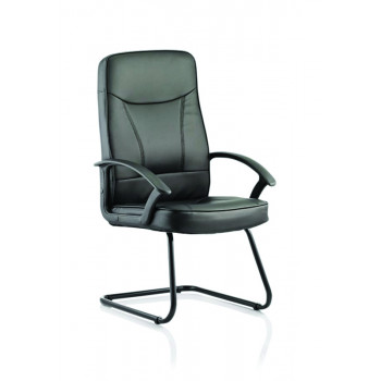 Blitz Cantilever Black Chair Black Bonded Leather With Arms