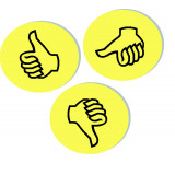 Evaluation Symbols, 9.5 Cm Dia., Yellow, Thumbs, 100 Pieces