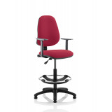 Eclipse I Lever Task Operator Chair Wine With Height Adjustable Arms With Hi Rise Draughtsman Kit