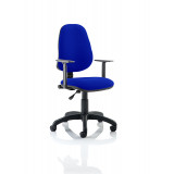 Eclipse I Lever Task Operator Chair Bespoke With Height Adjustable Arms In Stevia Blue