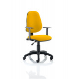 Eclipse I Lever Task Operator Chair Bespoke With Height Adjustable Arms In Senna Yellow