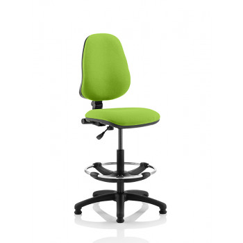 Eclipse I Lever Task Operator Chair Myrrh Green Fully Bespoke Colour With Hi Rise  Draughtsman Kit