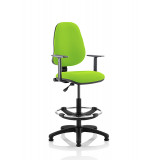 Eclipse I Lever Task Operator Chair Myrrh Green Fully Bespoke Colour With Height Adjustable Arms With Hi Rise Draughtsman Kit