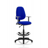 Eclipse I Lever Task Operator Chair Stevia Blue Fully Bespoke Colour With Height Adjustable Arms With Hi Rise Draughtsman Kit