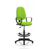 Eclipse I Lever Task Operator Chair Myrrh Green Fully Bespoke Colour With Loop Arms With Hi Rise Draughtsman Kit