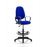 Eclipse I Lever Task Operator Chair Stevia Blue Fully Bespoke Colour With Loop Arms With Hi Rise Draughtsman Kit