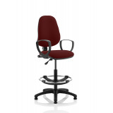 Eclipse I Lever Task Operator Chair Ginseng Chilli Fully Bespoke Colour With Loop Arms With Hi Rise Draughtsman Kit