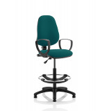 Eclipse I Lever Task Operator Chair Maringa Teal Fully Bespoke Colour With Loop Arms With Hi Rise Draughtsman Kit