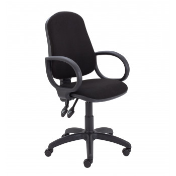 Calypso Ii High Back Chair With Fixed Arms - Black