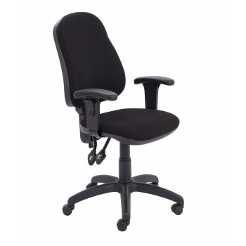 Calypso Ii High Back Chair With T Adjustable Arms - Black