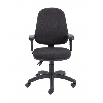 Calypso Ii High Back Chair With Adjustable Arms - Charcoal