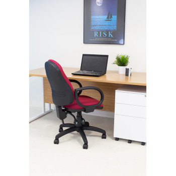 Calypso Ii High Back Chair With Fixed Arms - Claret