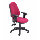 3 Lever Operator Chair Claret + Adjustable Arms