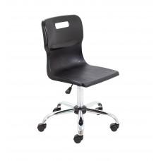 Titan Swivel Senior Chair - 435-525mm Seat Height - Black With Castors