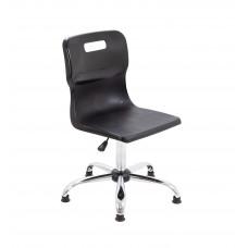 Titan Swivel Senior Chair - 435-525mm Seat Height - Black With Glides