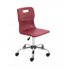 Titan Swivel Senior Chair - 435-525mm Seat Height - Burgundy With Castors