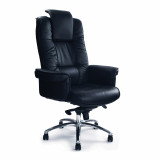 Hercules- Luxurious Leather Gull-Wing Executive Armchair With Chrome Base - Black