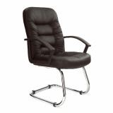 Fleet-C- Chrome Cantilever Framed Leather Faced Visitors Armchair - Black