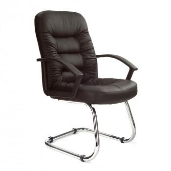Fleet-C- Chrome Cantilever Framed Leather Faced Visitors Armchair - Black
