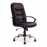Fleet- High Back Leather Faced Executive Armchair With Chrome Base - Black