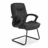 Hudson-C- Cantilever Framed Leather Faced Visitors Armchair With Contrasting Stitching - Black