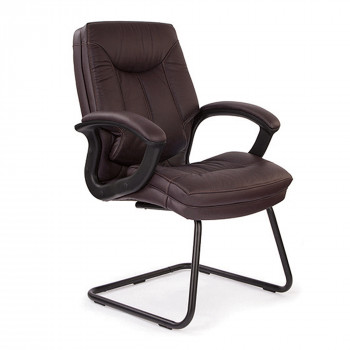 Hudson-C- Cantilever Framed Leather Faced Visitors Armchair With Contrasting Stitching - Burgundy