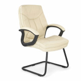 Hudson-C- Cantilever Framed Leather Faced Visitors Armchair With Contrasting Stitching - Cream