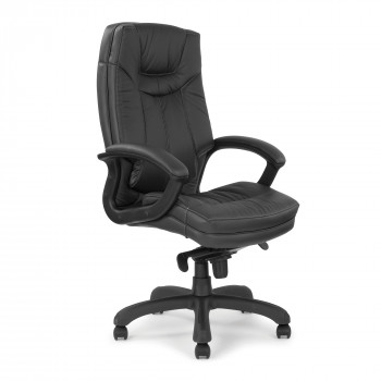 Hudson- High Back Leather Faced Executive Armchair With Contrasting Stitching - Black