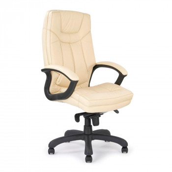 Hudson- High Back Leather Faced Executive Armchair With Contrasting Stitching - Cream