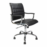 Carbis- Leather Effect Designer Armchair With Chrome Base - Black