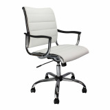 Carbis- Leather Effect Designer Armchair With Chrome Base - White