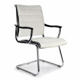 Carbis-C- Cantilever Chrome Framed Leather Effect Designer Visitors Chair - White