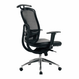 Freedom- High Back Mesh Executive Armchair With Coat-Hanger And Chrome Base - Black