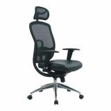 Liberty- High Back Mesh Executive Armchair With Headrest And Chrome Base - Black
