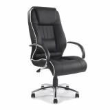 Dijon- High Back Leather Faced Executive Armchair With Contrasting Piping - Black