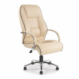 Dijon- High Back Leather Faced Executive Armchair With Contrasting Piping - Cream