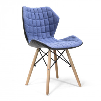 Amelia-Stylish Lightweight Fabric Chair- Denim
