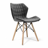 Amelia-Stylish Lightweight Fabric Chair- Grey