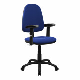 Java-100-High Back Operator Chair With Height Adjustable Arms - Blue